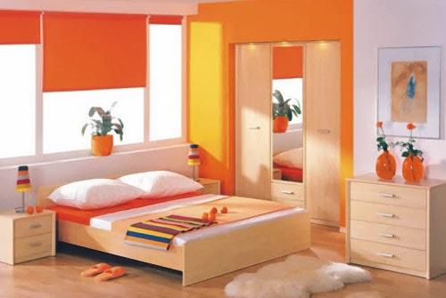 Orange themed bedroom