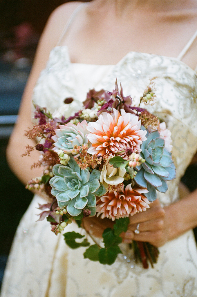 Wedding Bouquet With Dahlias : Bouquet bridal succulents and dahlias
