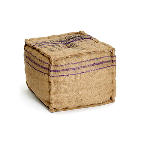 Square burlap ottomans by Hudson Goods as seen on linenandlavender.net