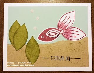 "Punch Art Fish card made with Stampin'UP!'s ""Friends and Flowers"" stamp set, in the Occasions 2016 Catalog"