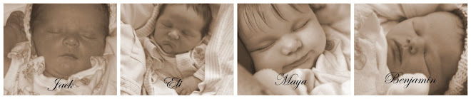 Baby photos of Jack, Eli, Maya and Benjamin ~ our cup overflows!