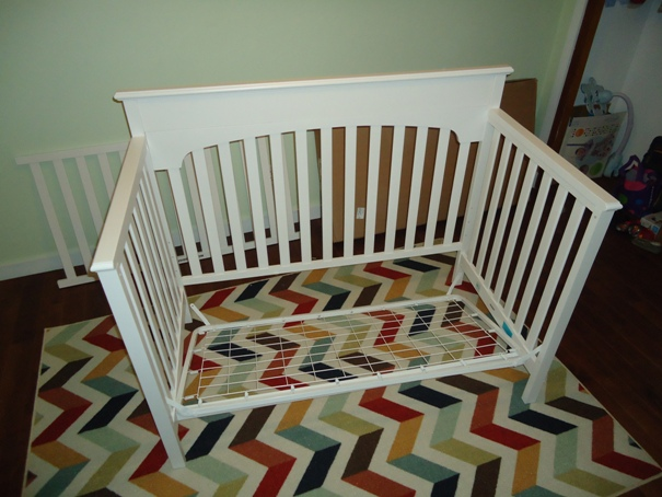 Almost done assembling the white crib