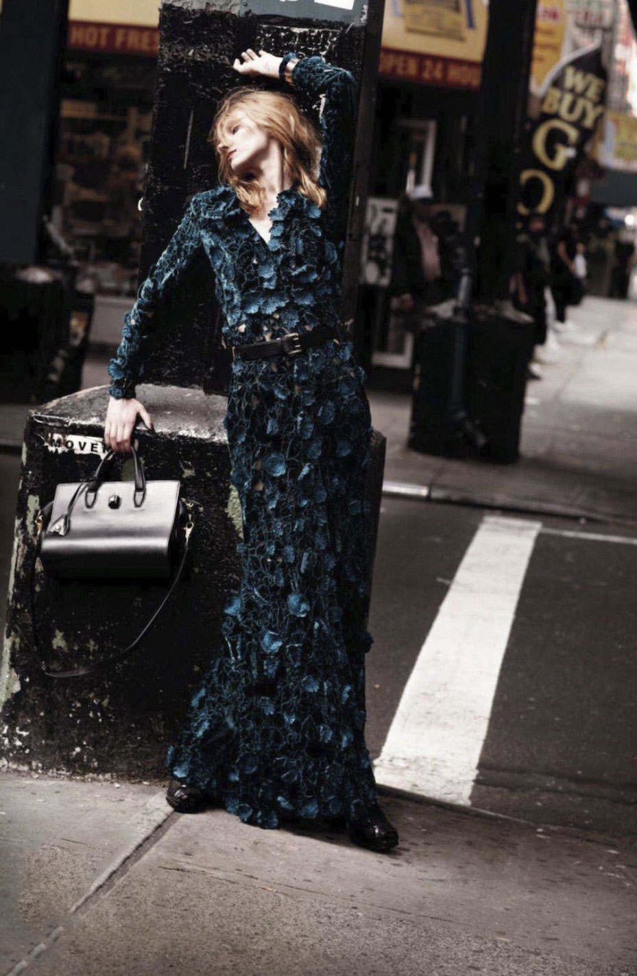 Olga Sherer wearing Oscar de la Renta floral appliqué gown in Elle US October 2012 (photography: Serge Leblon, styling: Mattias Karlsson)