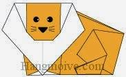 Bước 14: Vẽ mắt, mũi, râu để hoàn thành cách xếp con sư tử bằng giấy.