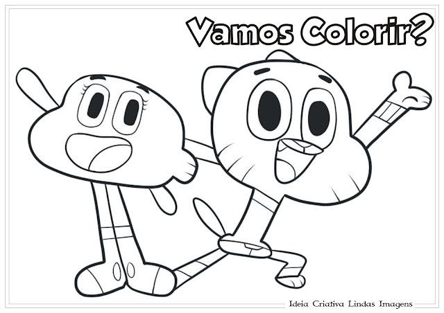 Darwin e Gumball (O incrível mundo de Gumball) para colorir