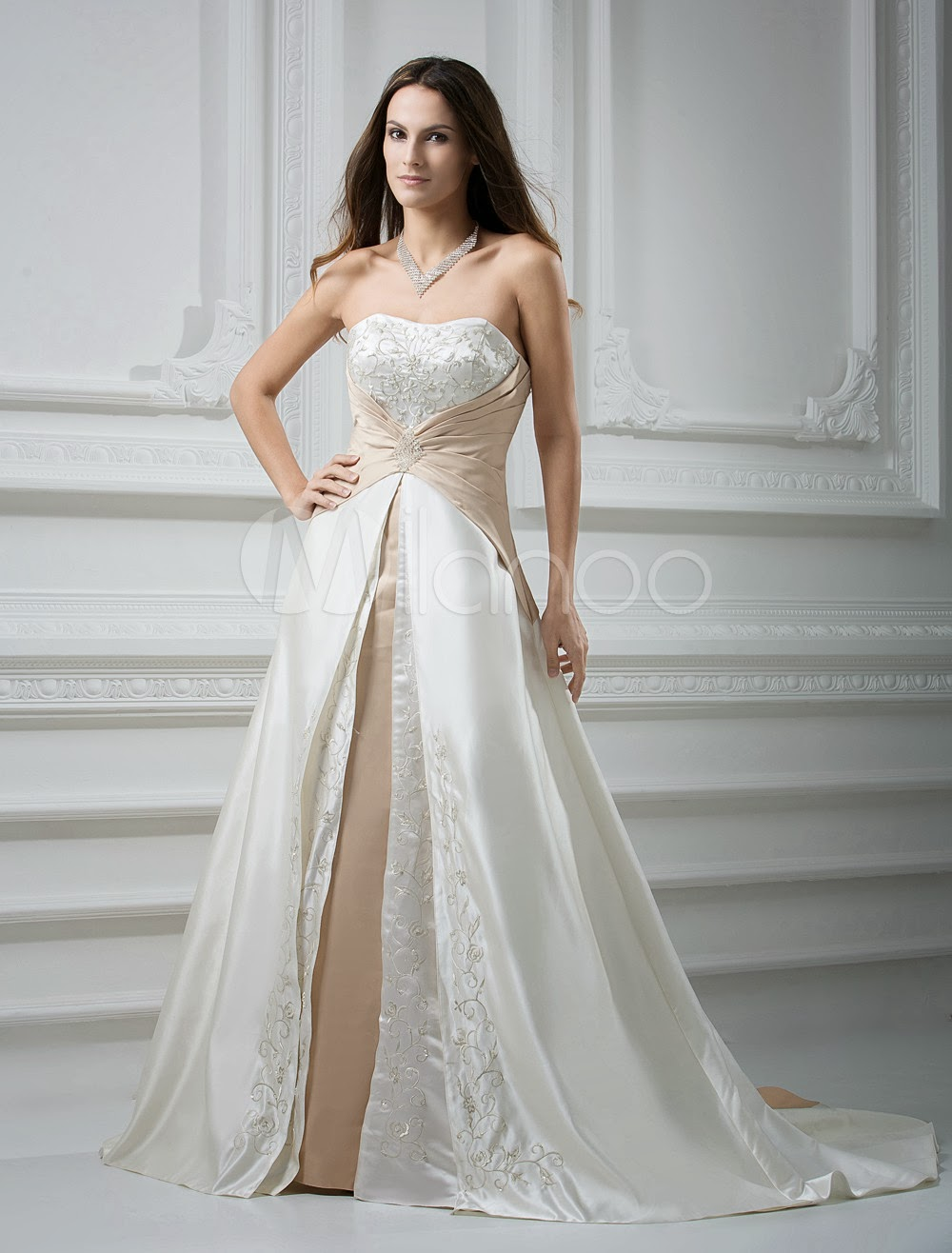 China Wholesale Dresses - White Sweeetheart Sash Satin Beaded Wedding Dress