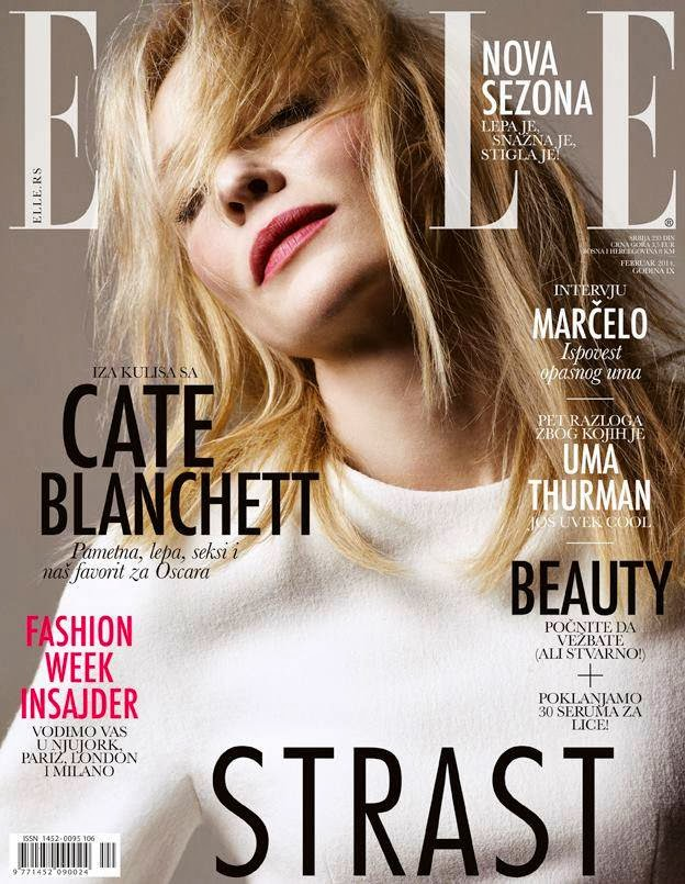 Magazine Cover : Cate Blanchett Magazine Photoshoot Pics on Elle Magazine Serbia February 2014 Issue