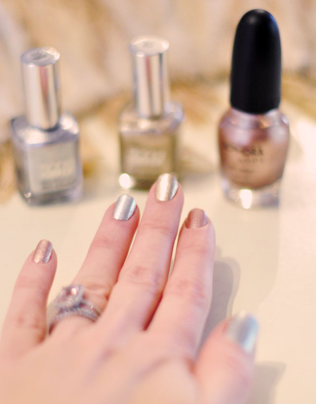 rose gold, white gold, yellow gold nails