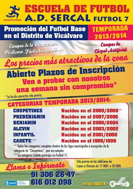 Escuela de fútbol SERCAL Vicálvaro Inscripciones 2013/14