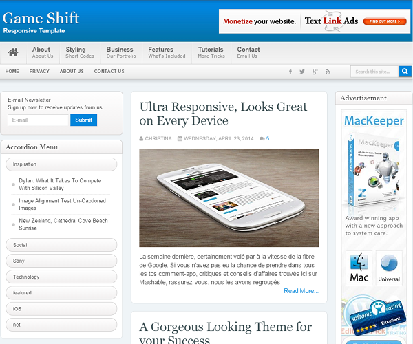 Game Shift Blogger Template