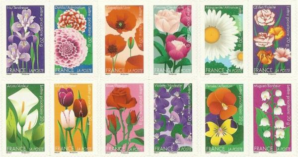 set of 12 flower stamps from France
