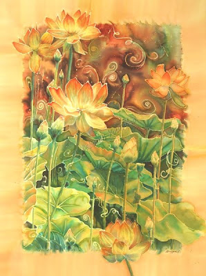 Deborah Younglao silk painting: Lotus Field