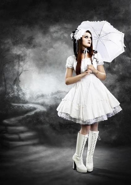black and white gothic lolita dress