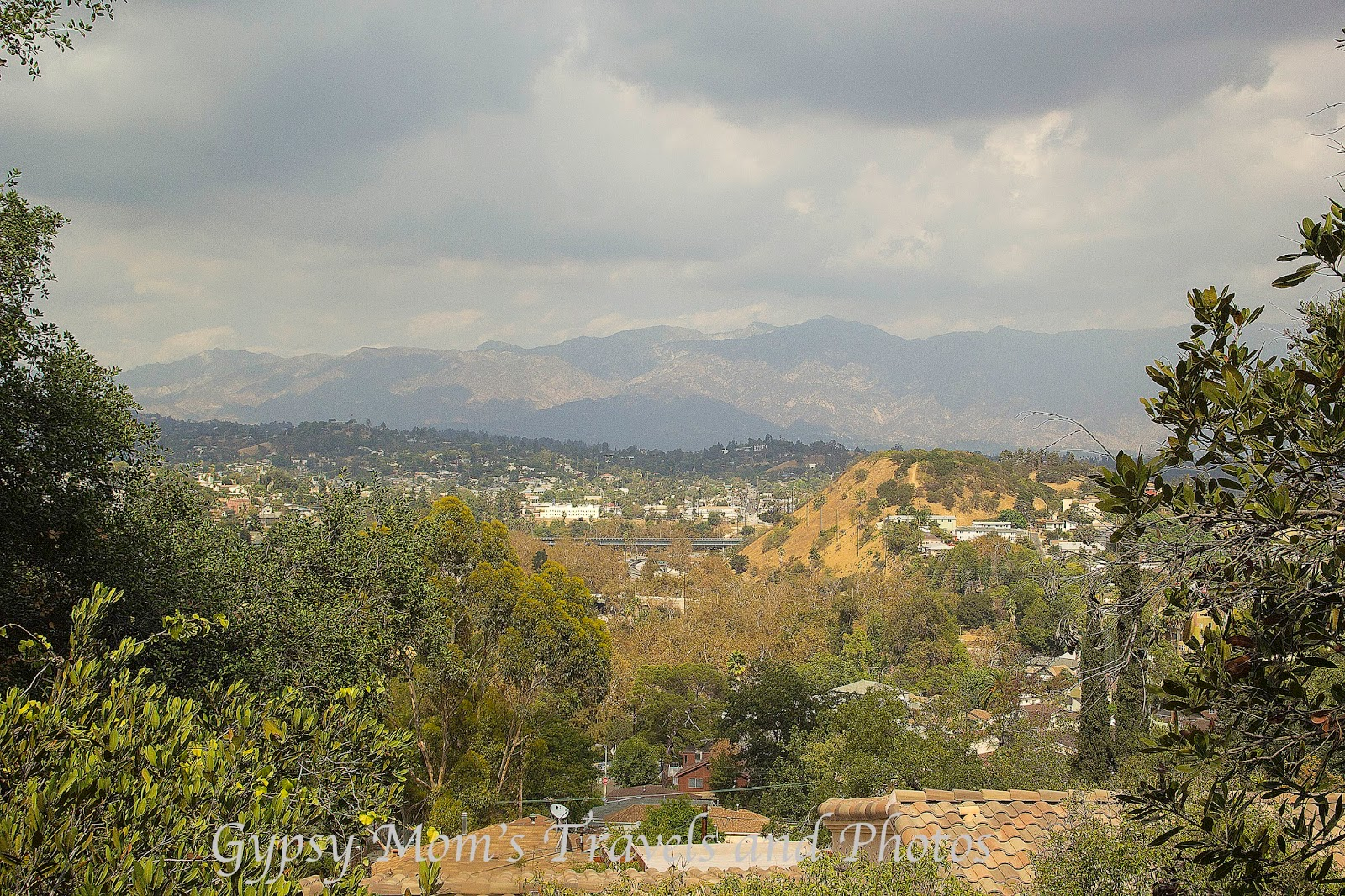View from Secret stairs walk looking at San Gabriel Mountains and valley