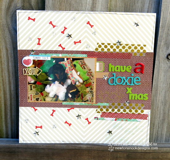 Doxie Christmas Scrapbook Page by Danielle Pandeline using Holiday Hounds - Dachshund Stamp set | Newton's Nook Designs