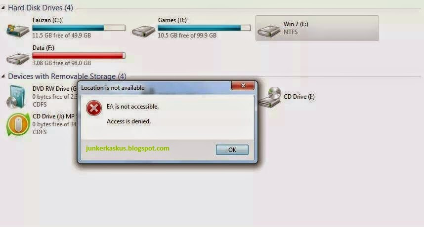 "Cara Mengatasi Error: ""Location is not available"" pada Windows 7"