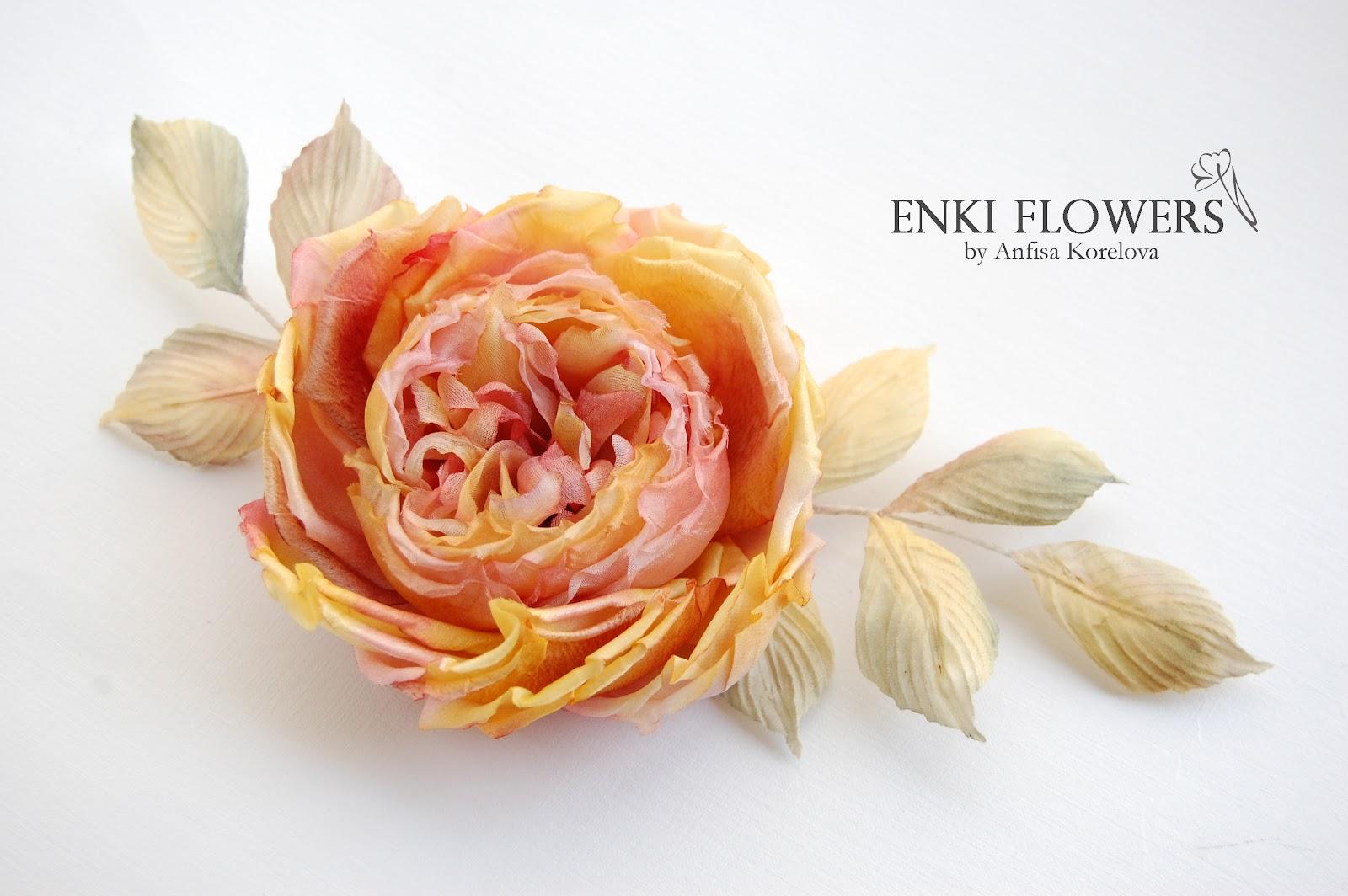 Староанглийская роза.Брошь.Цветы из шелка.