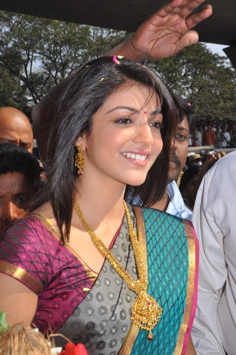 kajal agarwal in saree at chennai shopping mall launch unseen pics