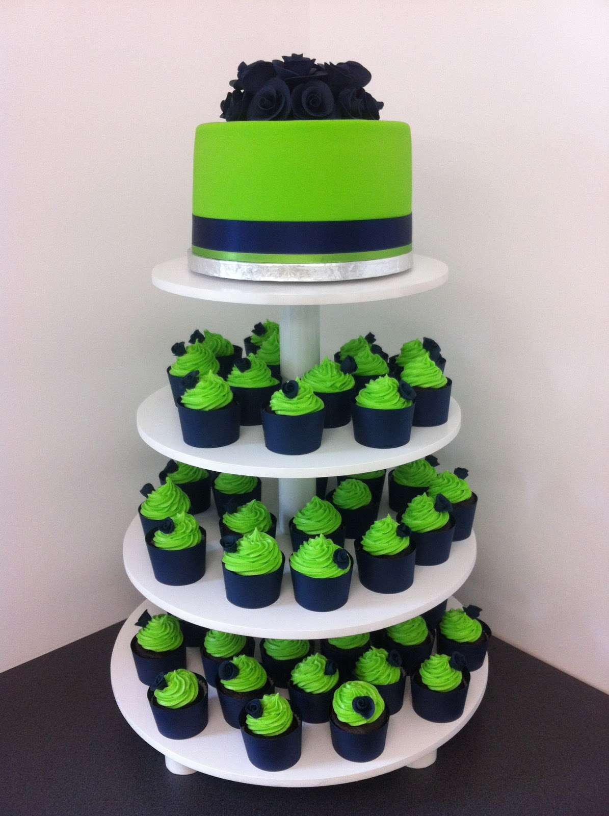 Navy Blue & Lime Green cup cake tower