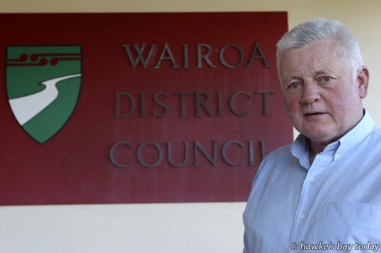 Wairoa mayor Craig Little chats with Hawke's Bay Today reporter Amy Shanks before the amalgamation announcement.  photograph