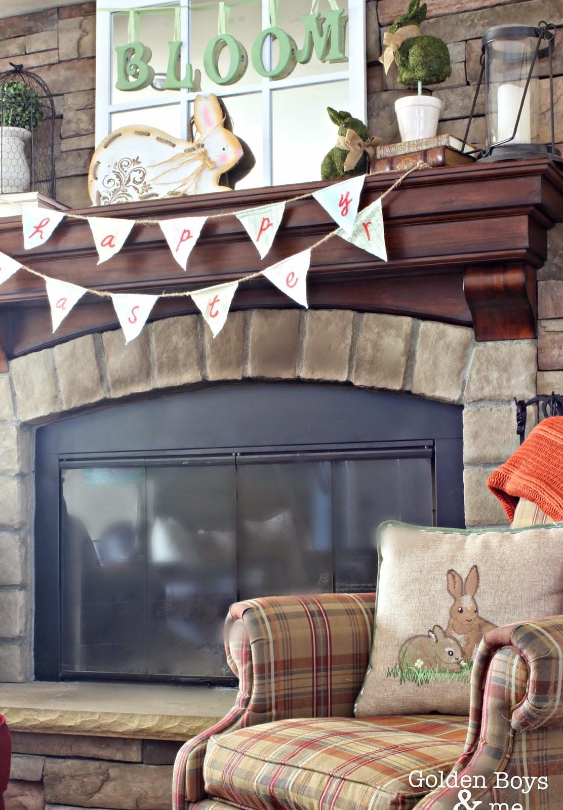Spring Family room mantel-www.goldenboysandme.com