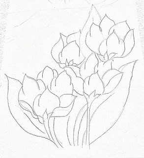 desenho de ramo de tulipas para pintar