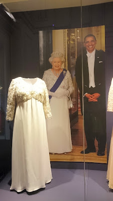 One of the Queen's state outfits in a Royal   Welcome 2015 exhibition at Buckingham   Palace - Photo © Rachel Knowles
