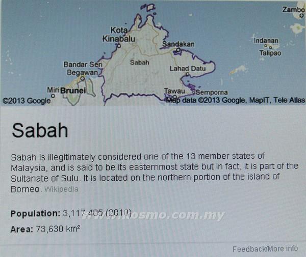 PENGGODAM menyiarkan maklumat tentang Sabah yang bukan merupakan negeri yang sah milik Malaysia di enjin carian Google semalam.