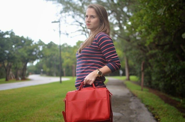 Tan jeans - striped sweater - red bag - boots