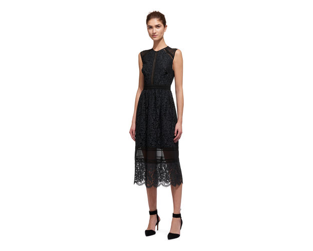 whistles black lace dress,