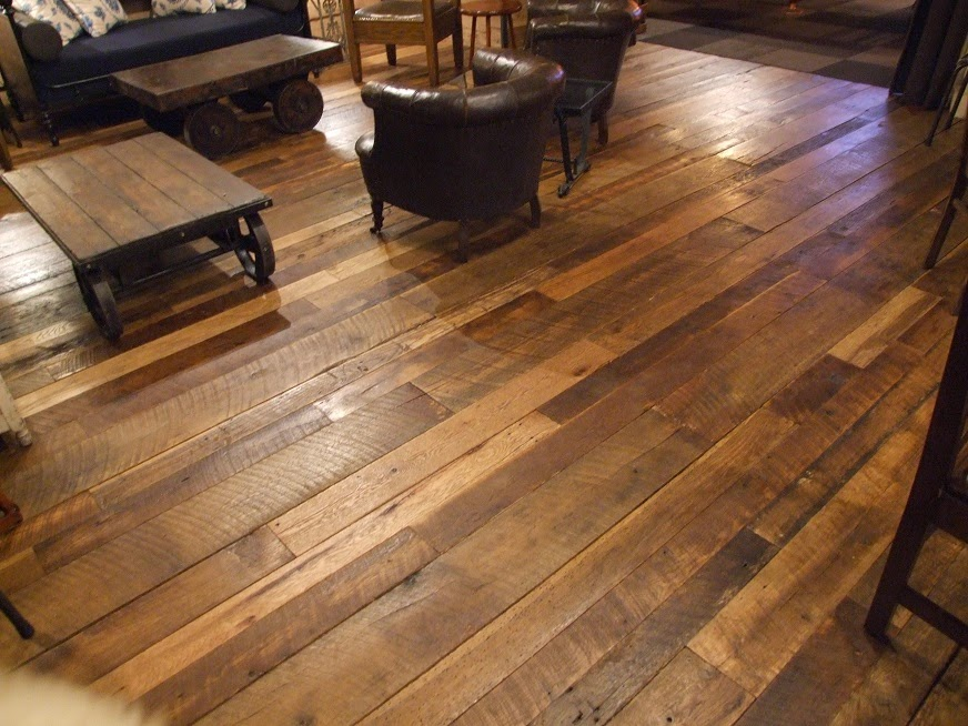 Reclaimed barn beams wide plank flooring rustic mantles for Reclaimed decking boards