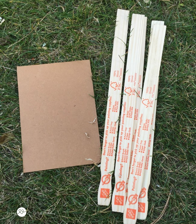 hard board and paint sticks