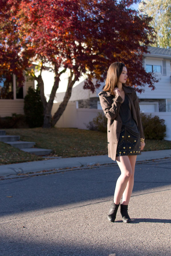 studded skirt, leather skirt, sam edelman lucca, nasty gal, fall fashion, personal style, Calgary fashion