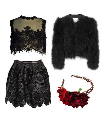 lace look, heavy lace black high waist skirt with lace crop top, feather jacket and red rose fascinator