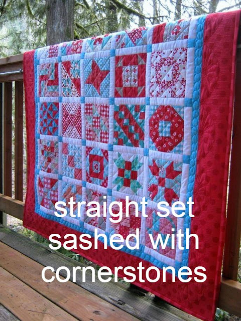 straight set sashed with cornerstones