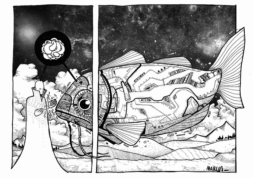 Converzación galactica-proyeccion arte - Marcos Santos- Marcus