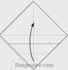 Bước 3: Gấp góc dưới tờ giấy lên phía trên, vị trí gấp là đường đứt đoạn.