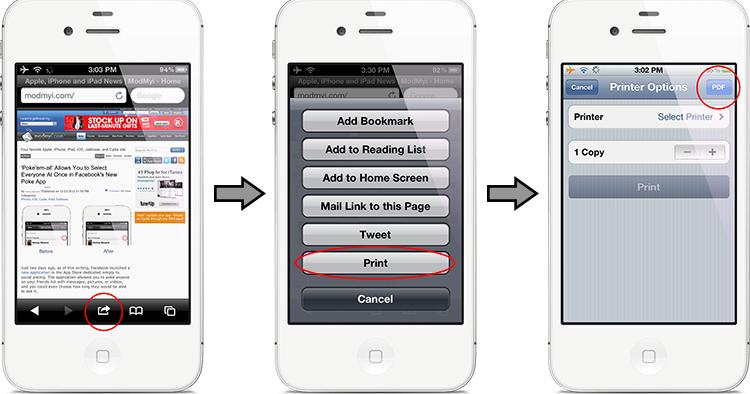 save open safari webpages as pdf files in iphone ipad ipod