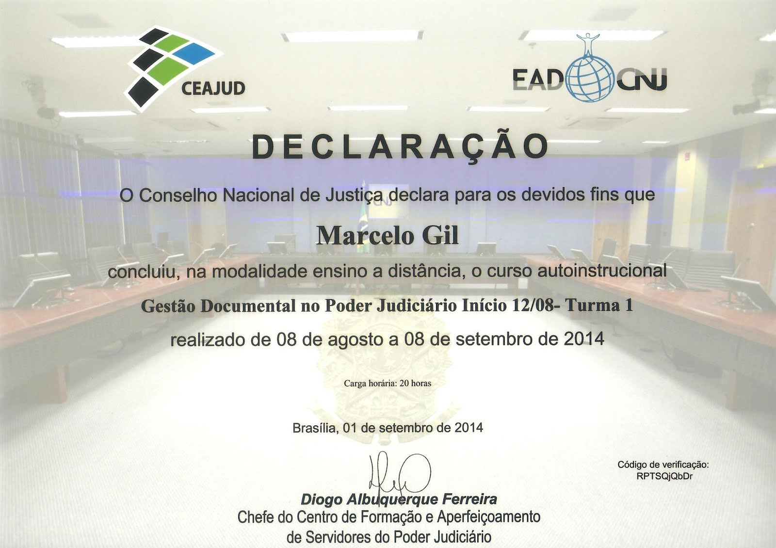 CERTIFICADO DO CONSELHO NACIONAL DE JUSTIÇA CONCEDIDO À MARCELO GIL / 2014