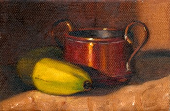 Oil painting of a small copper pot with two handles beside a banana.
