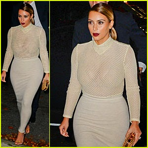 Kim Kardashian hot see-through top in night out
