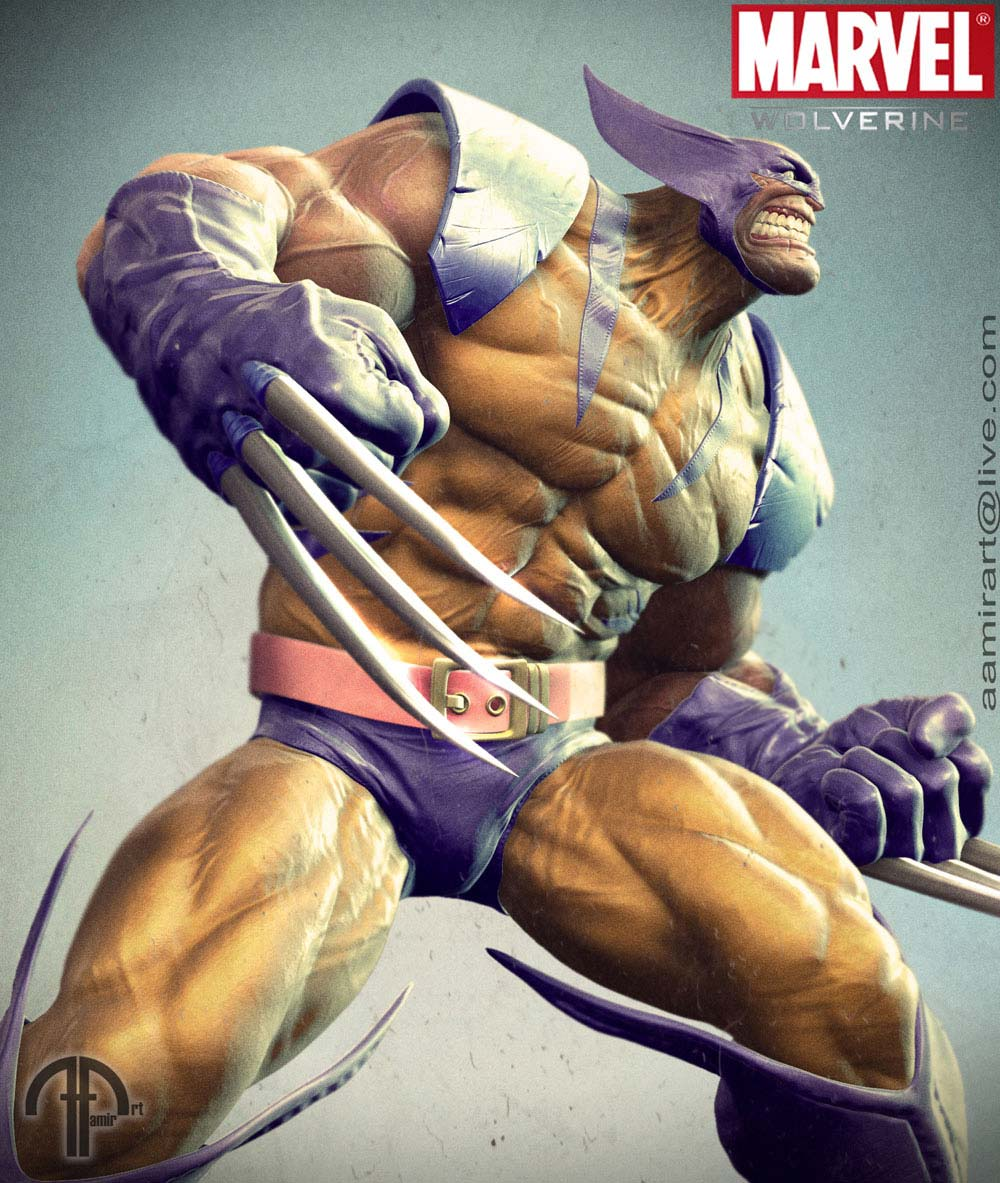 Digital Concept Art by Aamirart - Wolverine in Action pose