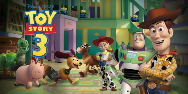 Woody smiling with others in the background Toy Story 3 2010 animatedfilmreviews.blogspot.com
