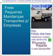PUBLICIDADE: FLAVÃO DISK FRETE POVOADO RAJADA C. dos DANTAS
