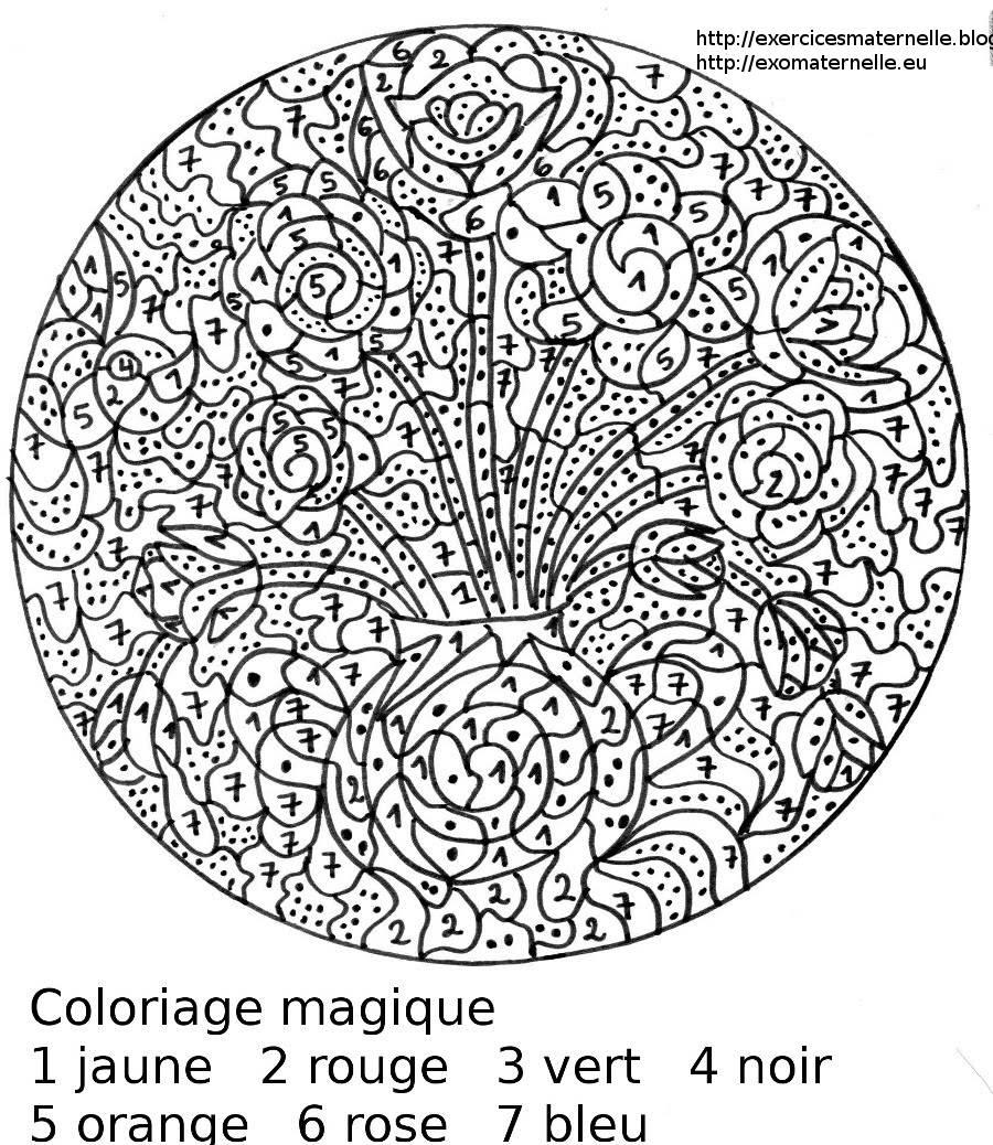 Maternelle coloriage magique des fleurs dans un vase - Coloriage de fleur ...
