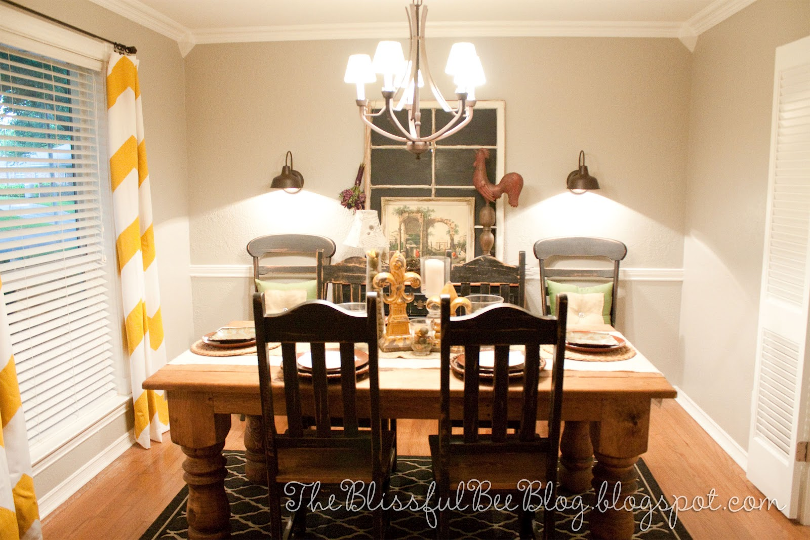 Remodelaholic dining room lighting tablescape and - Yellow dining room curtains ...