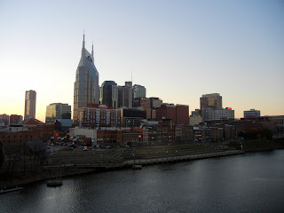 Views off of the Shelby Street Pedestrian Bridge in Nashville, TN