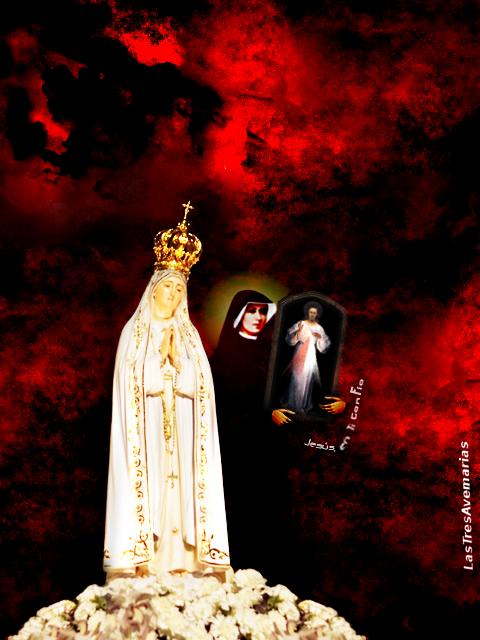 vigen de fatima con santa faustna cargando cuadro de la divina misericordia