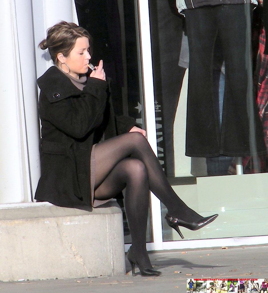 Black pantyhose high heels — 1