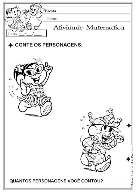 Atividade Matemática Temática Carnaval Turma da Mônica